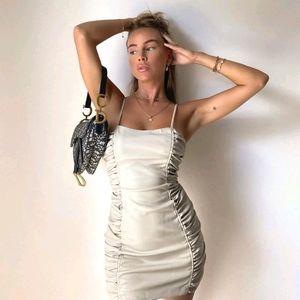 NWT ZARA | Faux Leather Draped Dress Stone